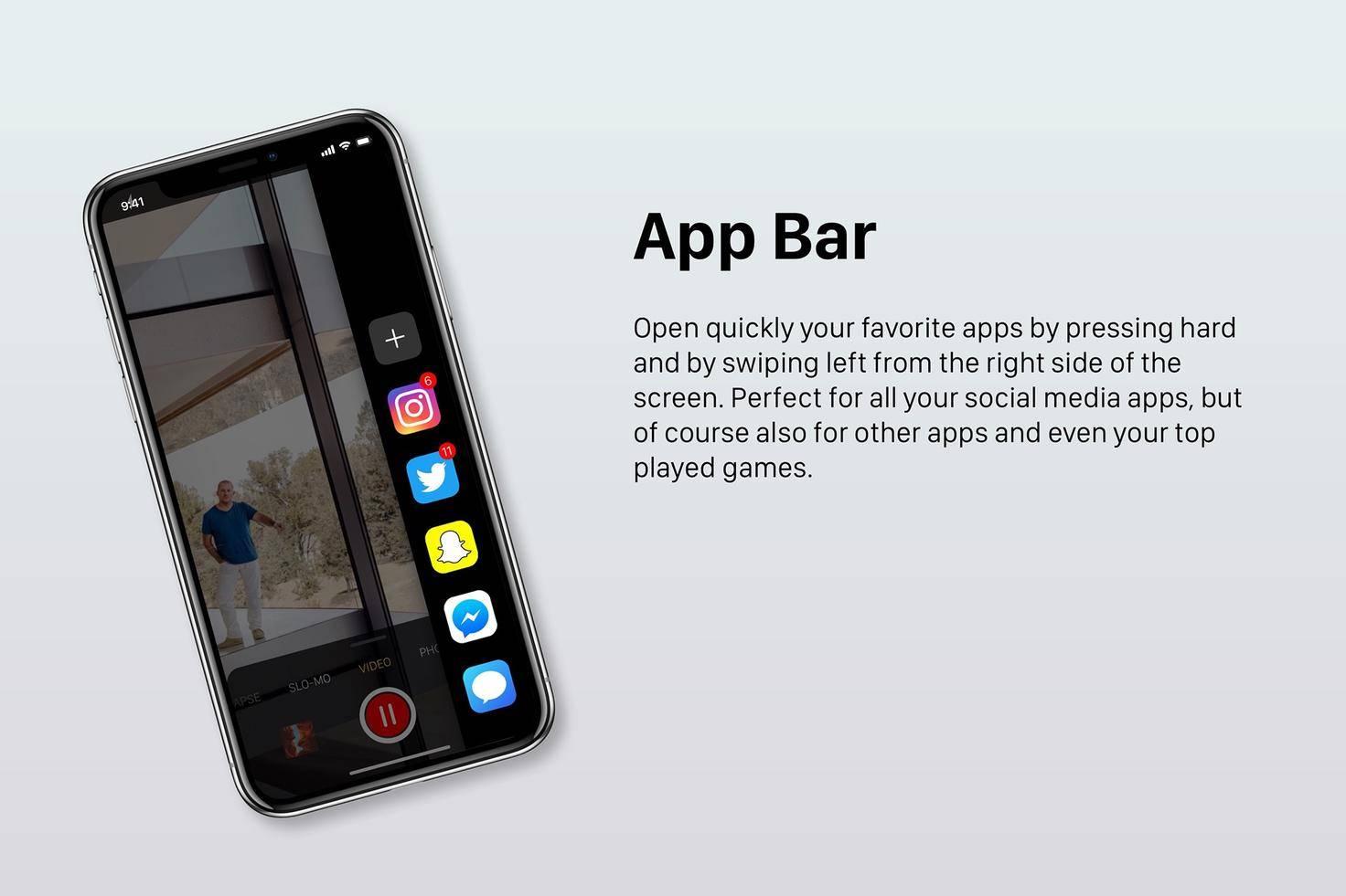 Eine App Bar für schnellen Zugriff auf die Lieblings-Apps.