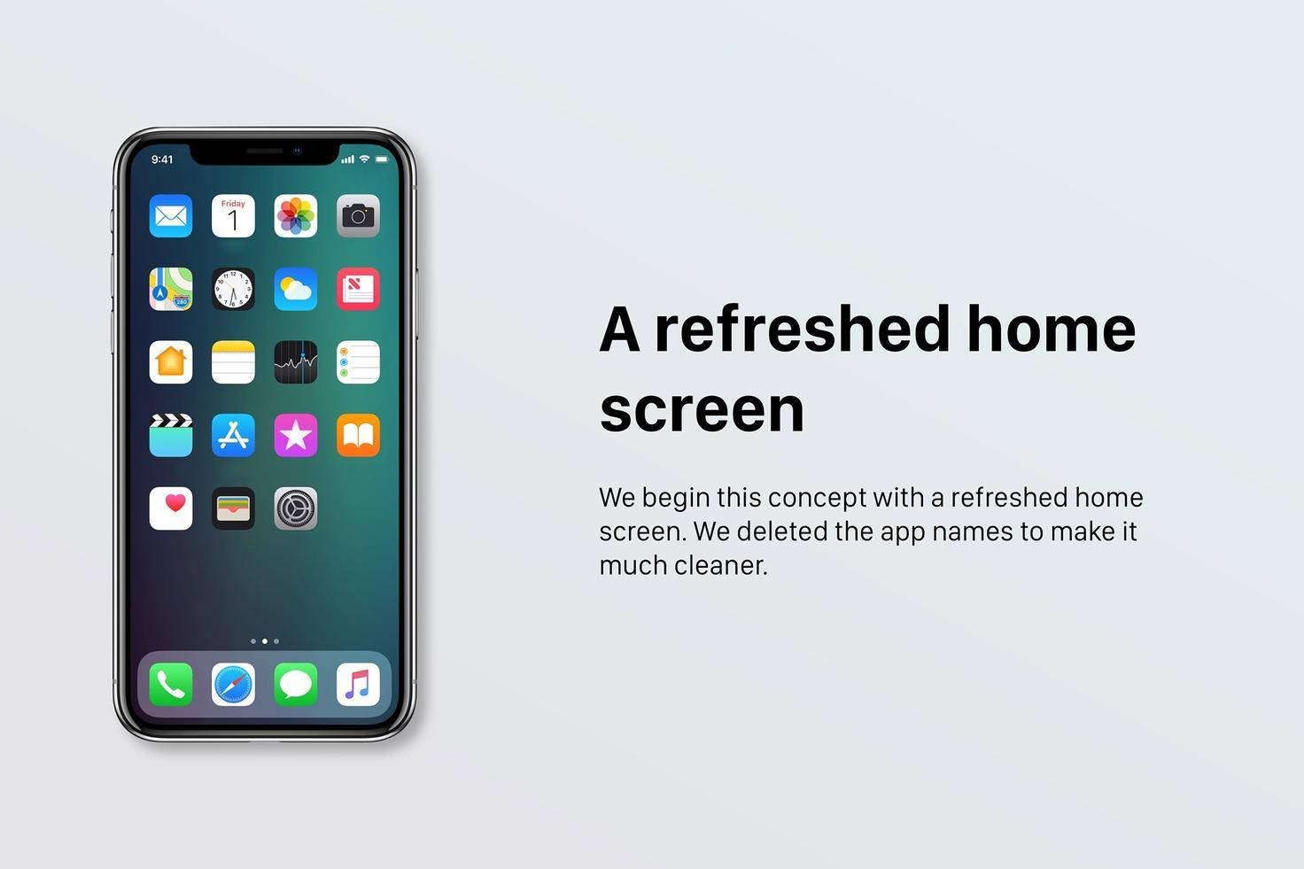 Ein Homescreen ohne App-Namen.