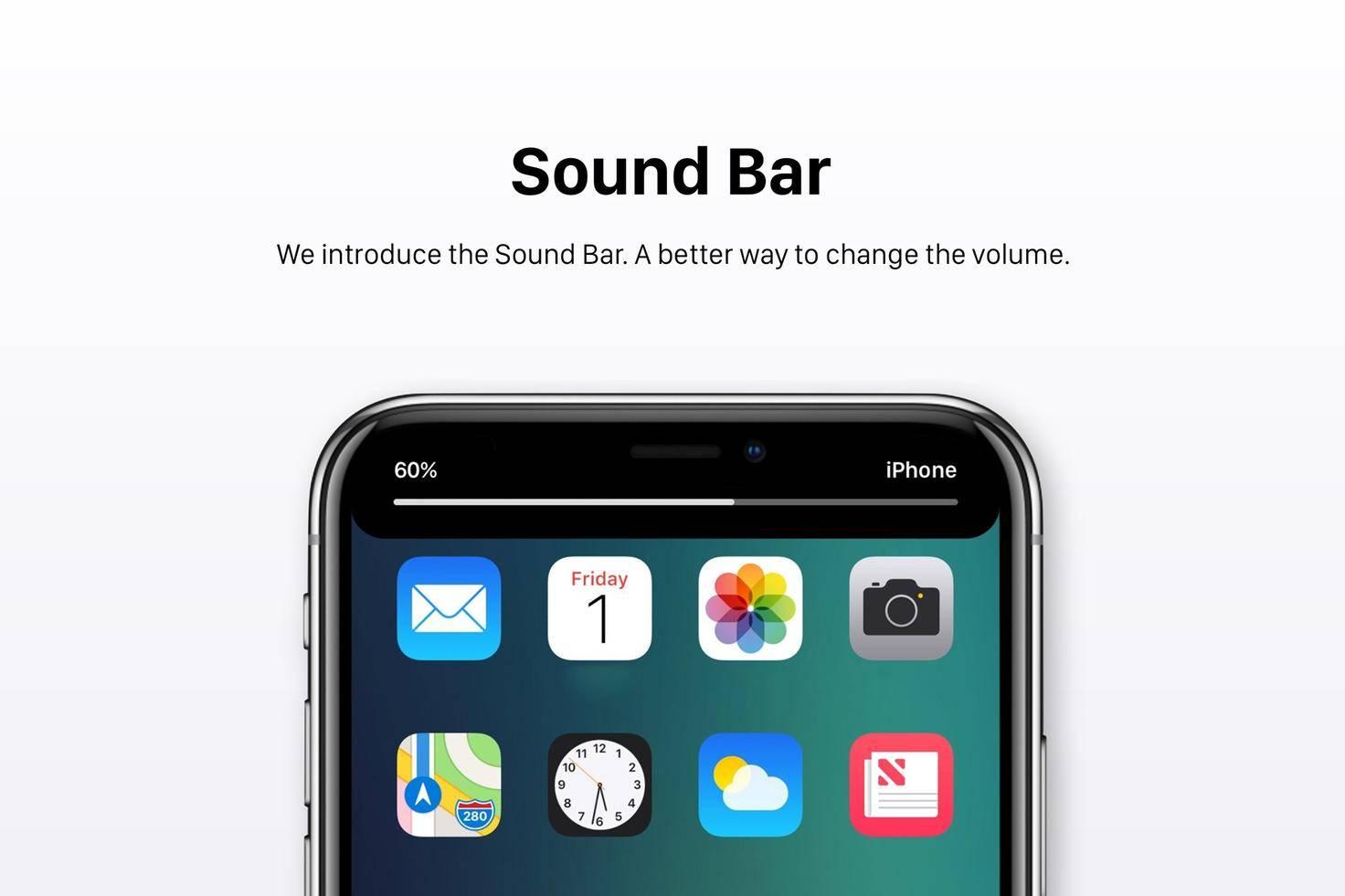 Eine Sound Bar zum Anzeigen der Lautstärke.