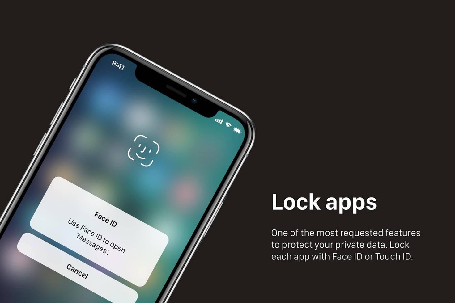 Apps mit Face ID sichern.