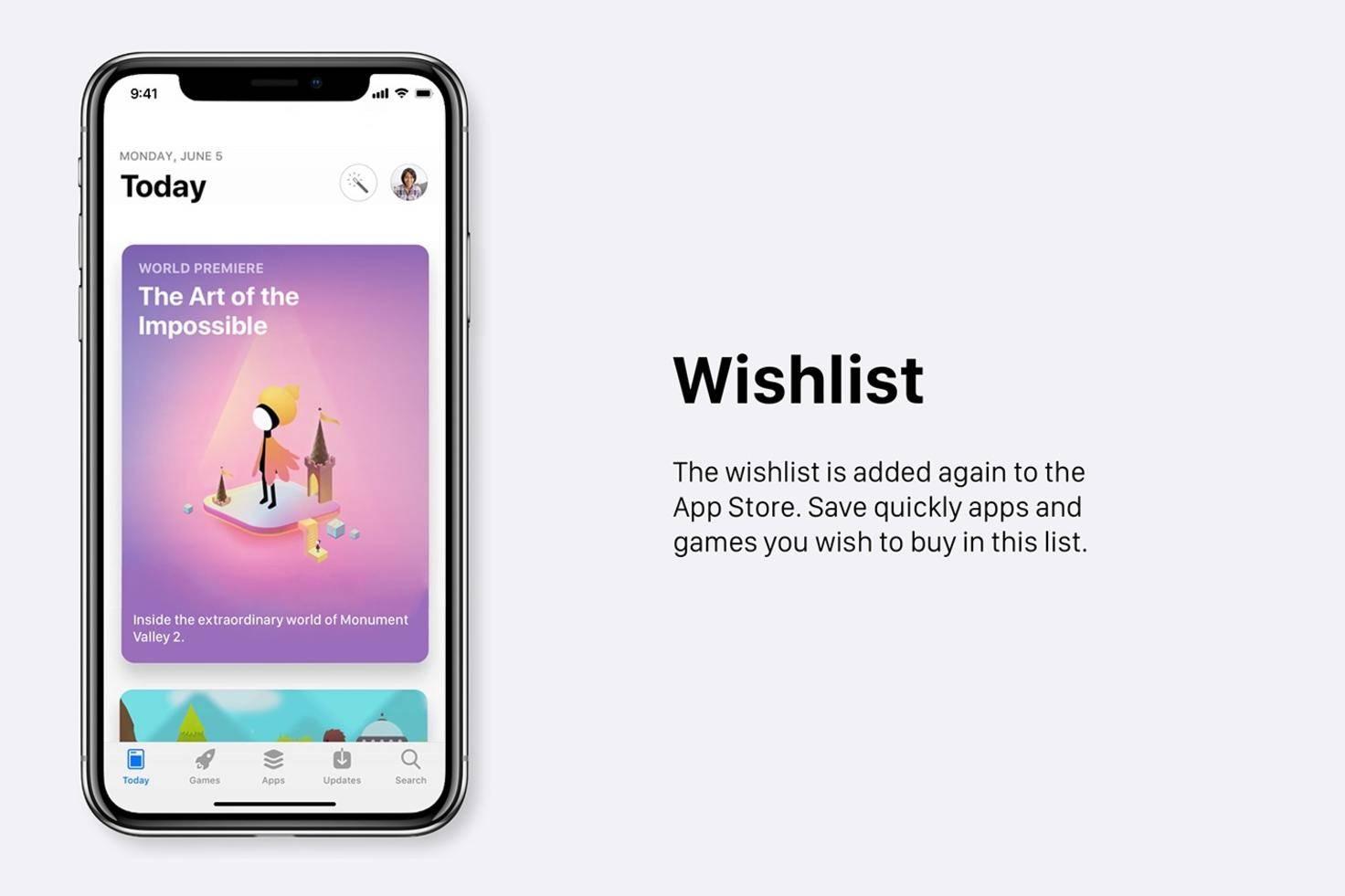Eine Wunschliste im App Store.