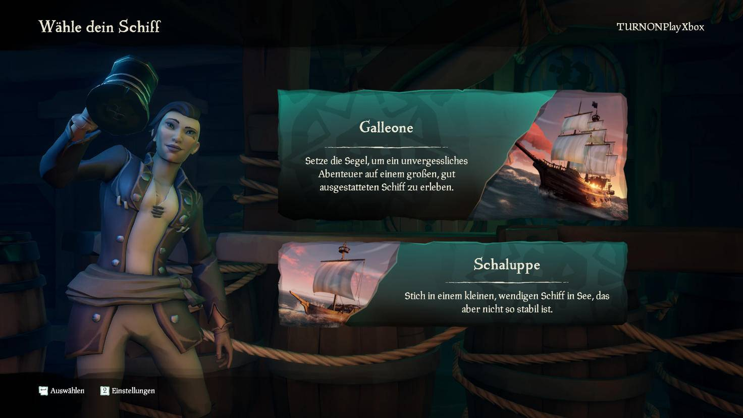 """Schiff ahoi – aber welches? Zwei Größen gibt's in """"Sea of Thieves"""". Ich entscheide mich für die große Variante."""
