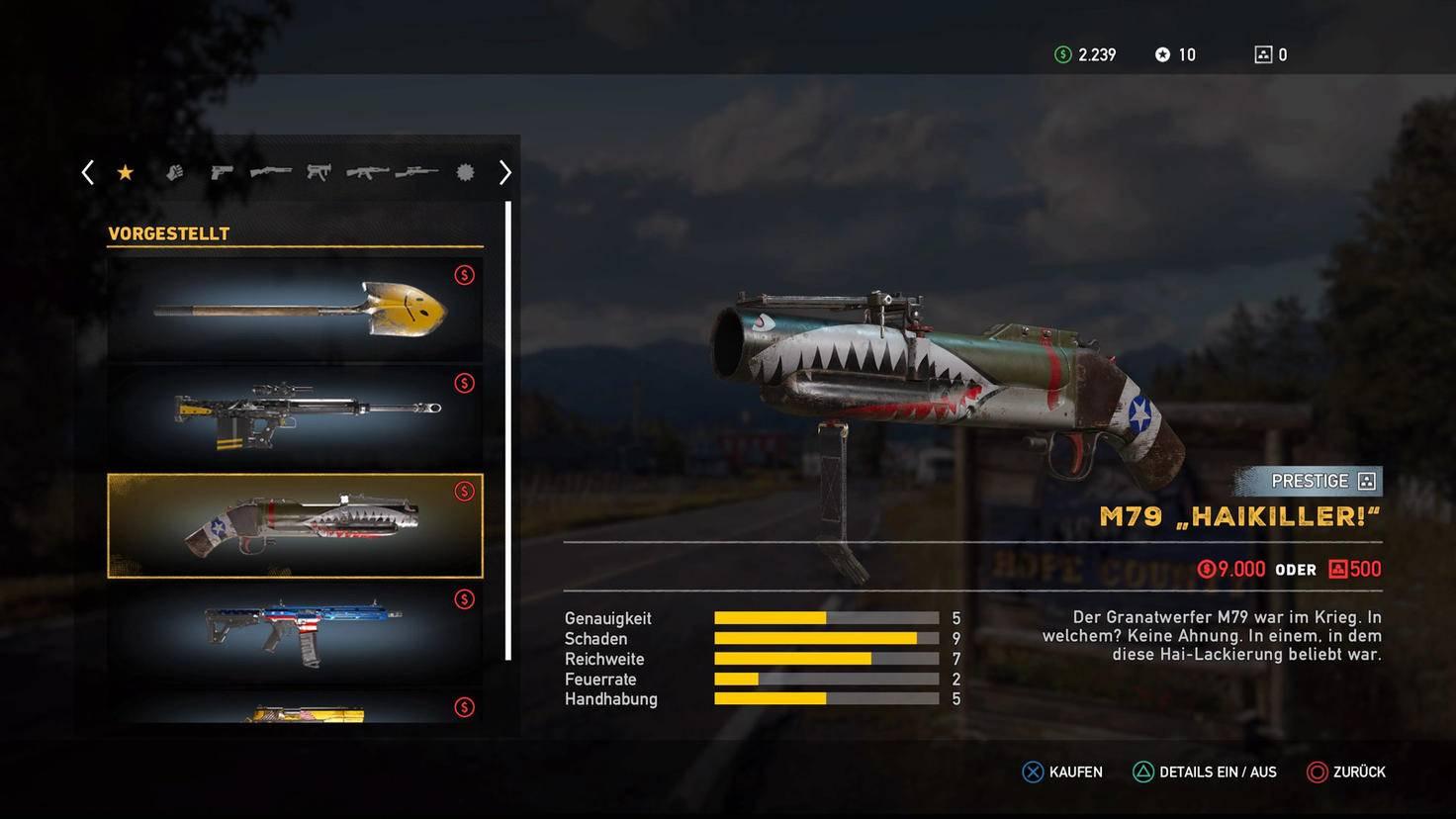 """Mit dem Granatwerfer M79 """"Haikiller!"""" lieferst Du handliche Sprengstoffpäckchen per Luftpost an Joseph Seed und seine Schergen."""