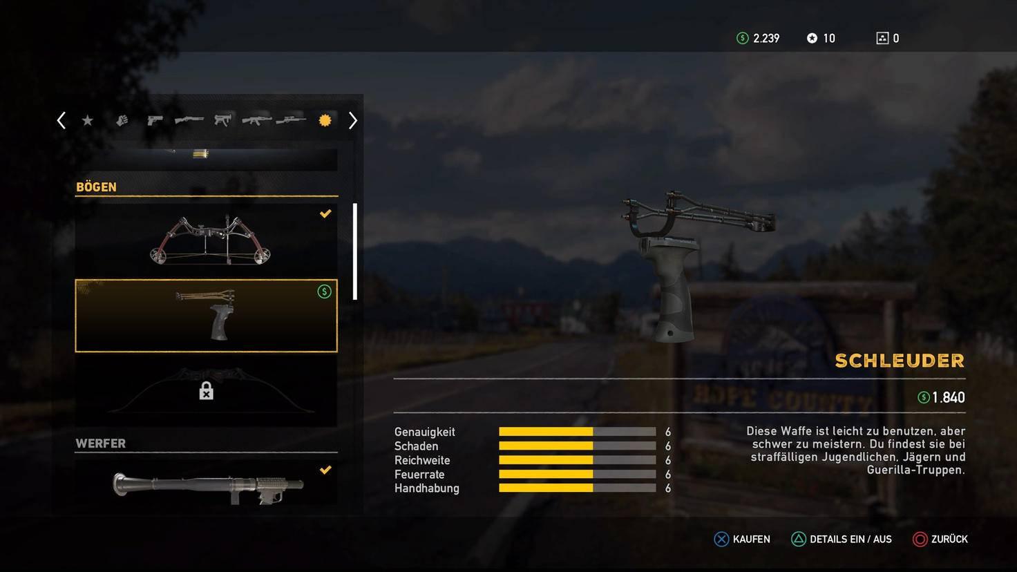 """Alle Werte im Mittelfeld: Die Schleuder ist in """"Far Cry 5"""" eine erstaunlich ausgewogene Waffe – und noch dazu eine ziemlich leise."""