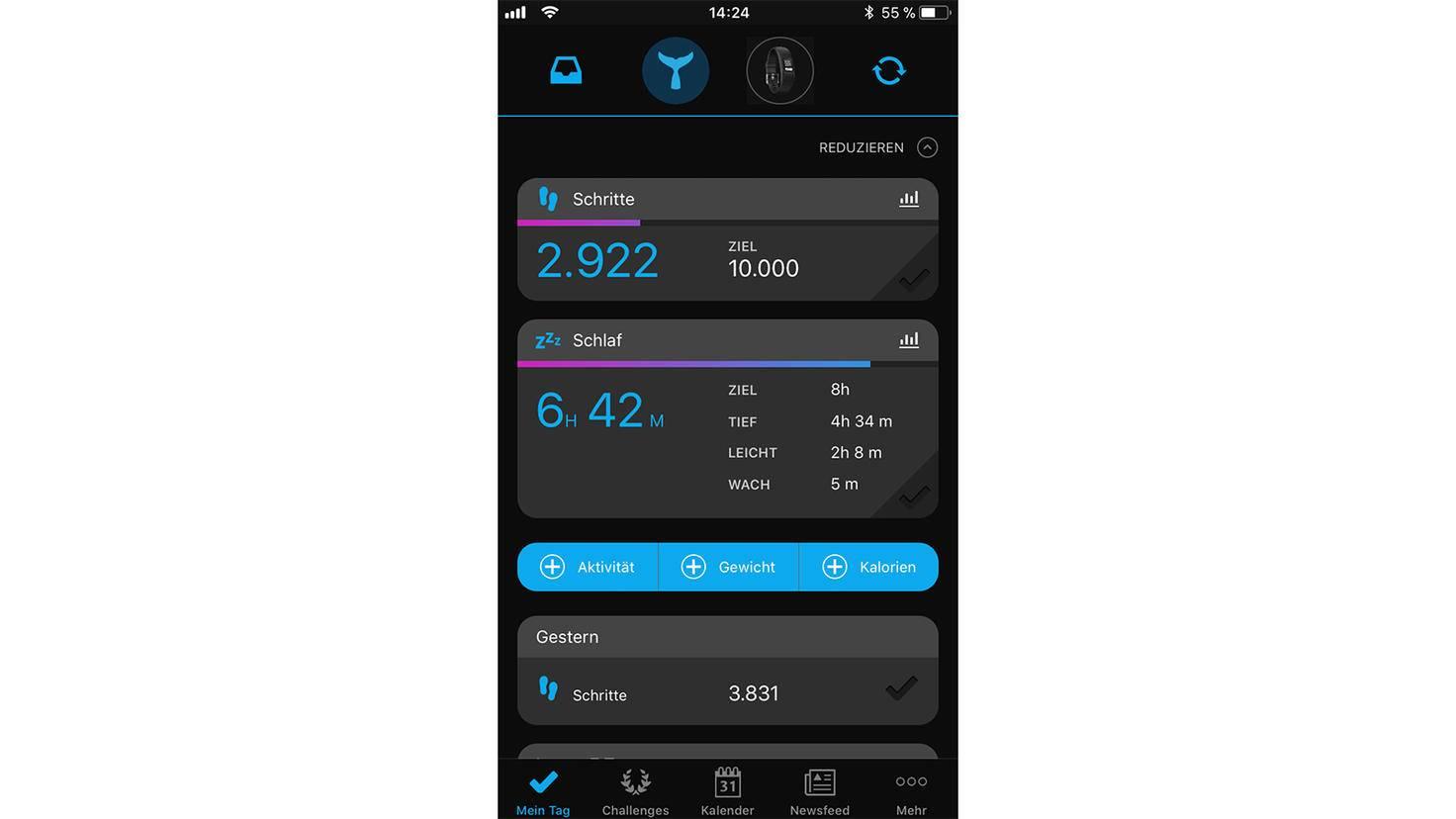 Die Startseite der Connect-App zeigt die wichtigsten Daten auf einen Blick.