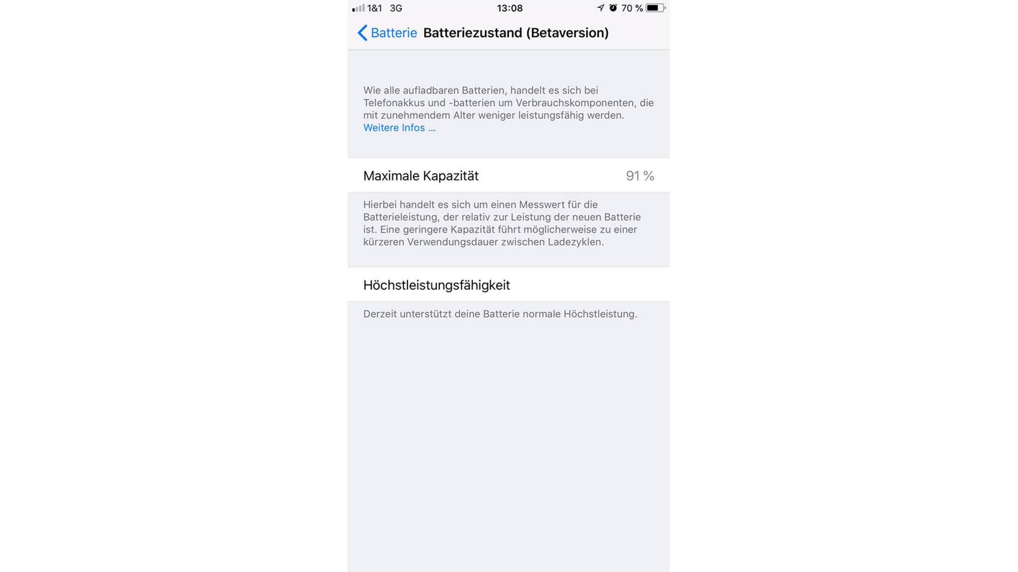 Akku-Status iOS 11.3