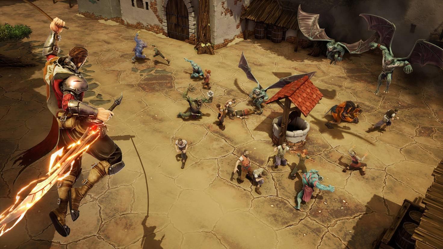 Avil kämpft gegen Orks und andere kleine Monster, ...