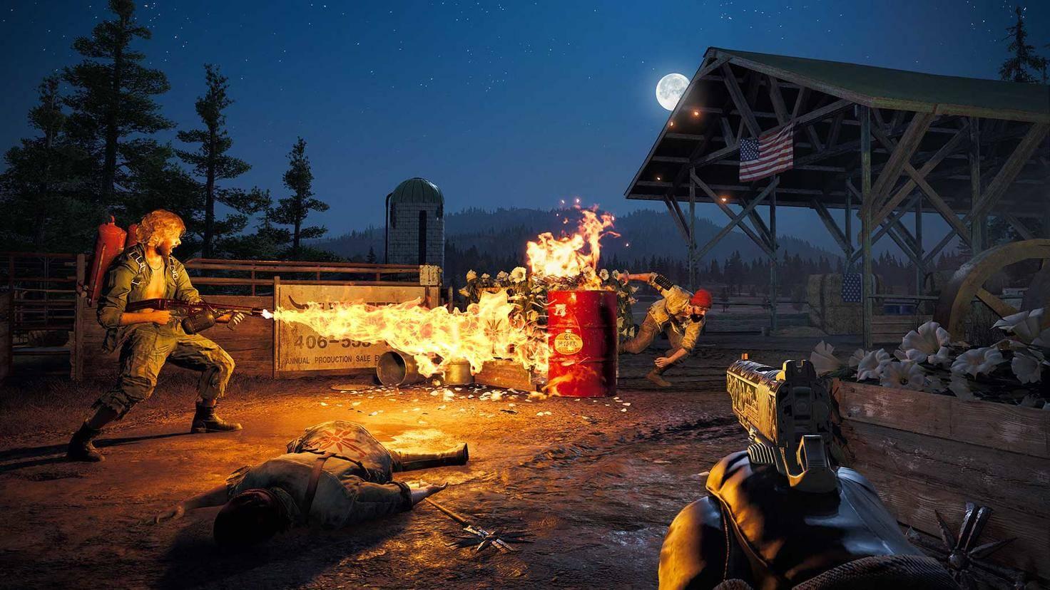 """Feuer frei! In """"Far Cry 5"""" stiftest Du im Koop doppelte Unruhe."""