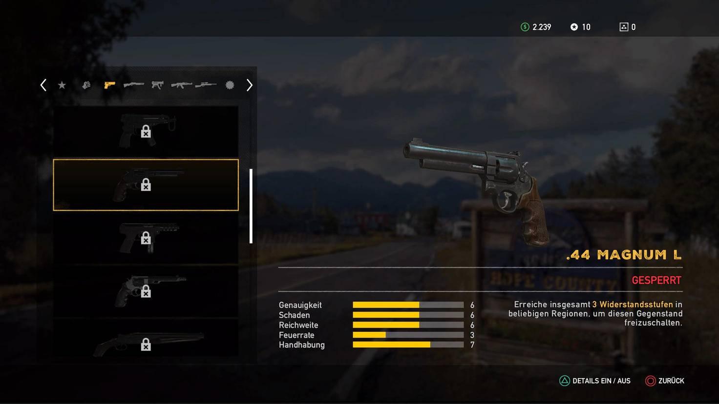 Neue Waffen schaltest Du frei, indem Du Deine Widerstandsstufe steigerst.