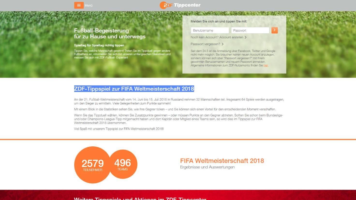 ZDF-Tippspiel zur WM 2018