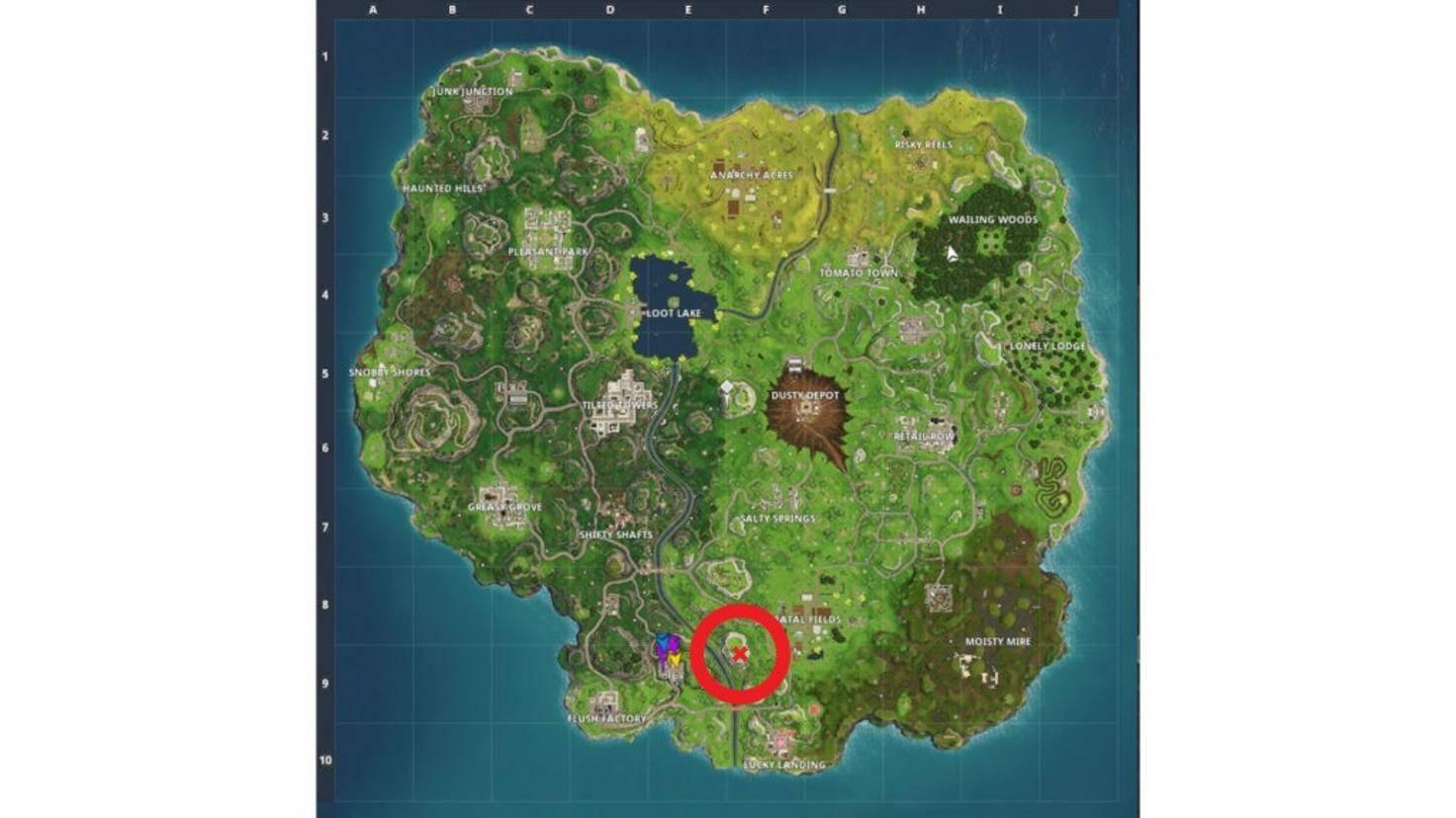 Das rote X im roten Kreis zeigt Dir den Fundort des dritten Sterns.