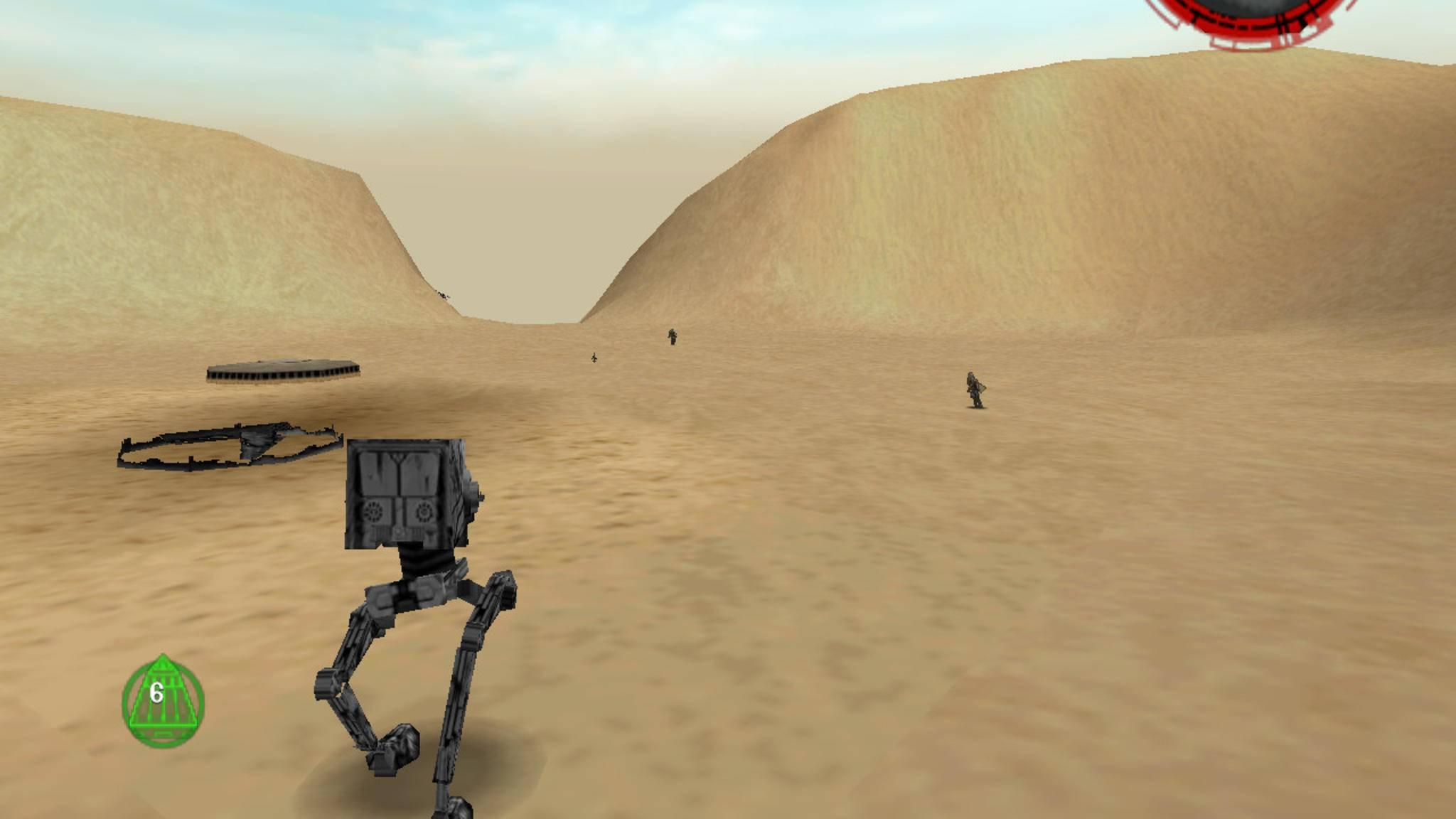 """Bodenständig: Mit dem richtigen Cheat stapfe ich als AT-ST durch die Wüste. Der Code ist übrigens """"CHICKEN""""."""
