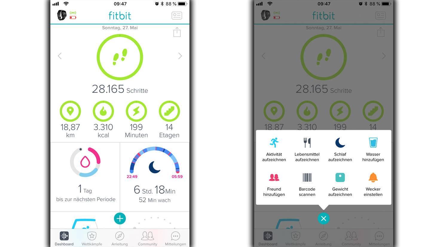 Das Menü in der Fitbit-App hat kaum merkliche Veränderungen vorzuweisen.
