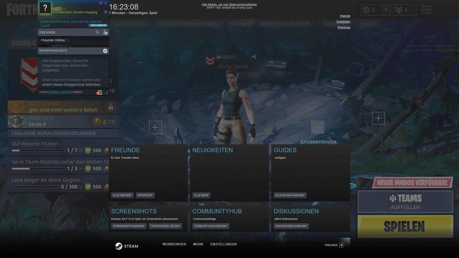 """Das Steam-Overlay funktioniert mit """"Fortnite: Battle Royale""""."""