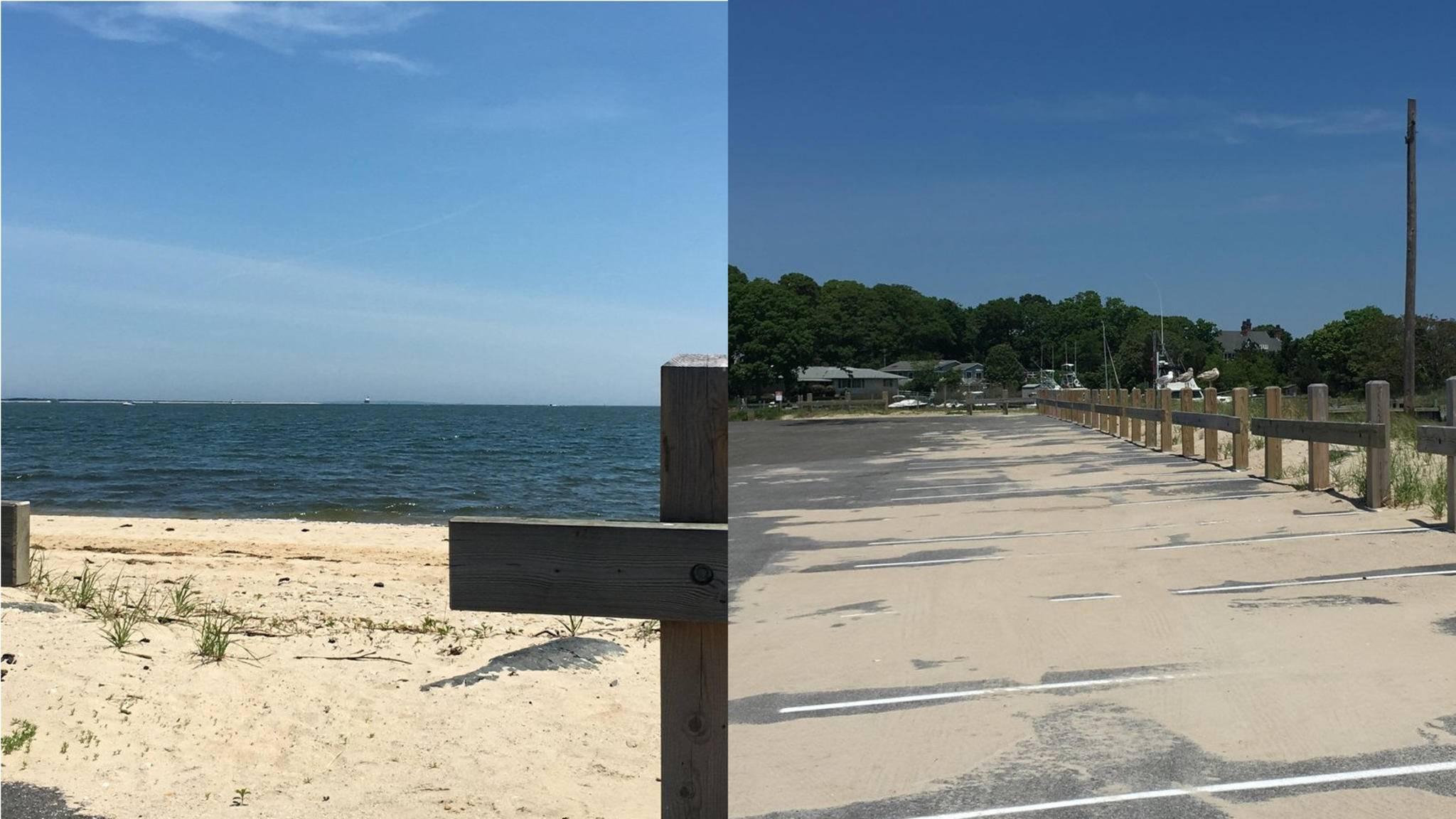 Suchbild: Links versteckt sich das Schiff am Horizont, rechts sitzen Möwen auf dem Zaun.