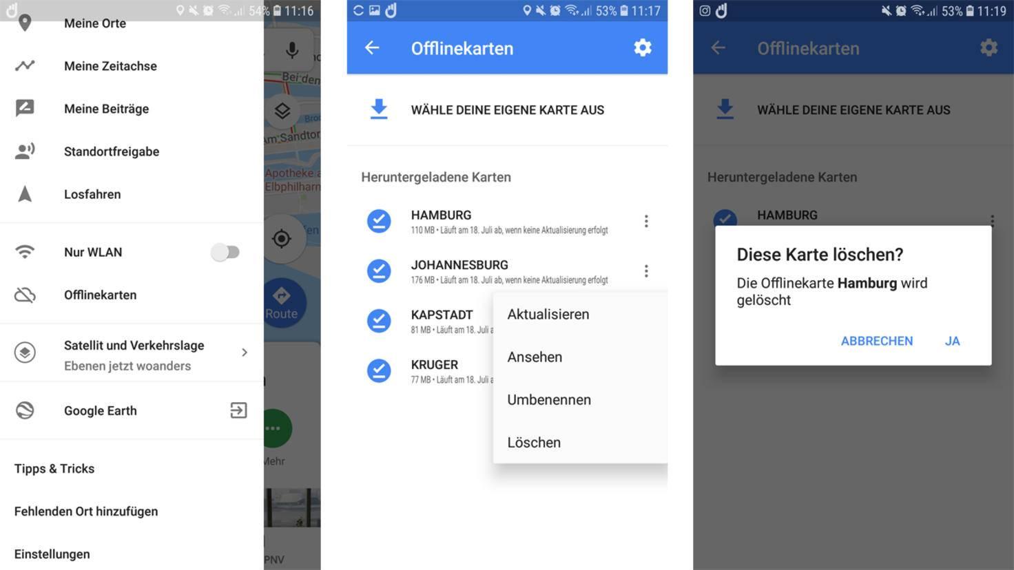 Android aufraeumen Offlinekarten loeschen