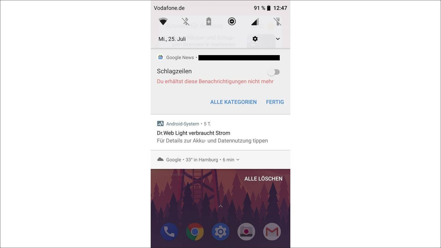Dann bekommst Du keine Push-Mitteilungen von der App mehr.