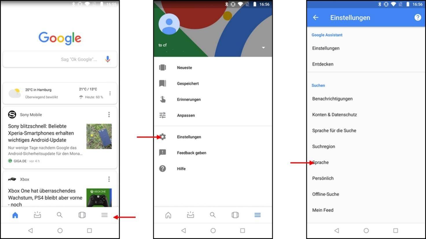 """Öffne die Google-App und gehe dort in die """"Einstellungen""""..."""