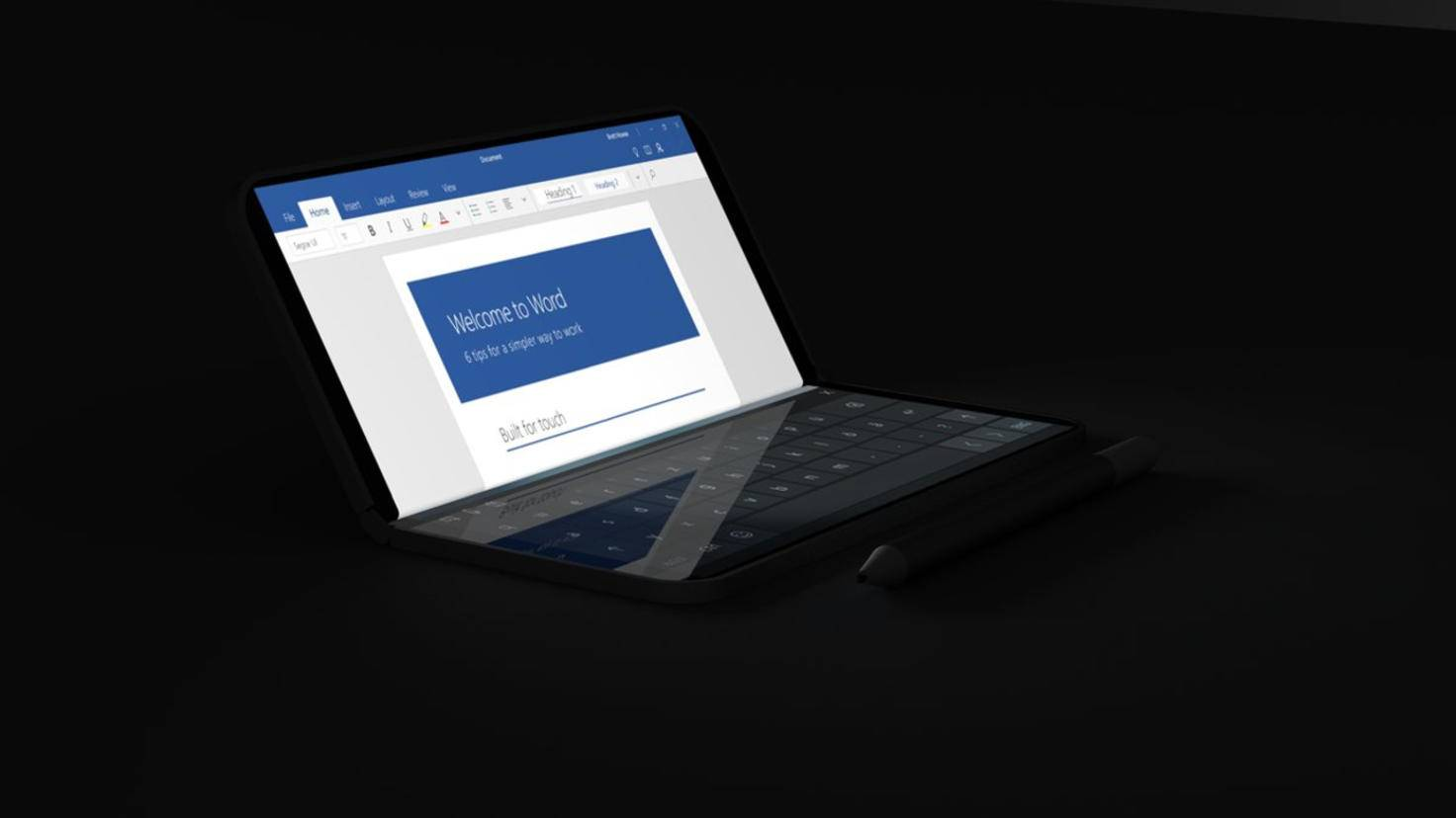Das Surface Phone im Laptop-Modus.