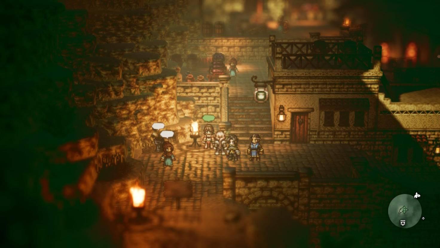 Nach und nach triffst Du die acht Protagonisten des Spiels. Hier wird Tänzerin Primrose (grüne Denkblase) vom Helden-Team abgeholt.