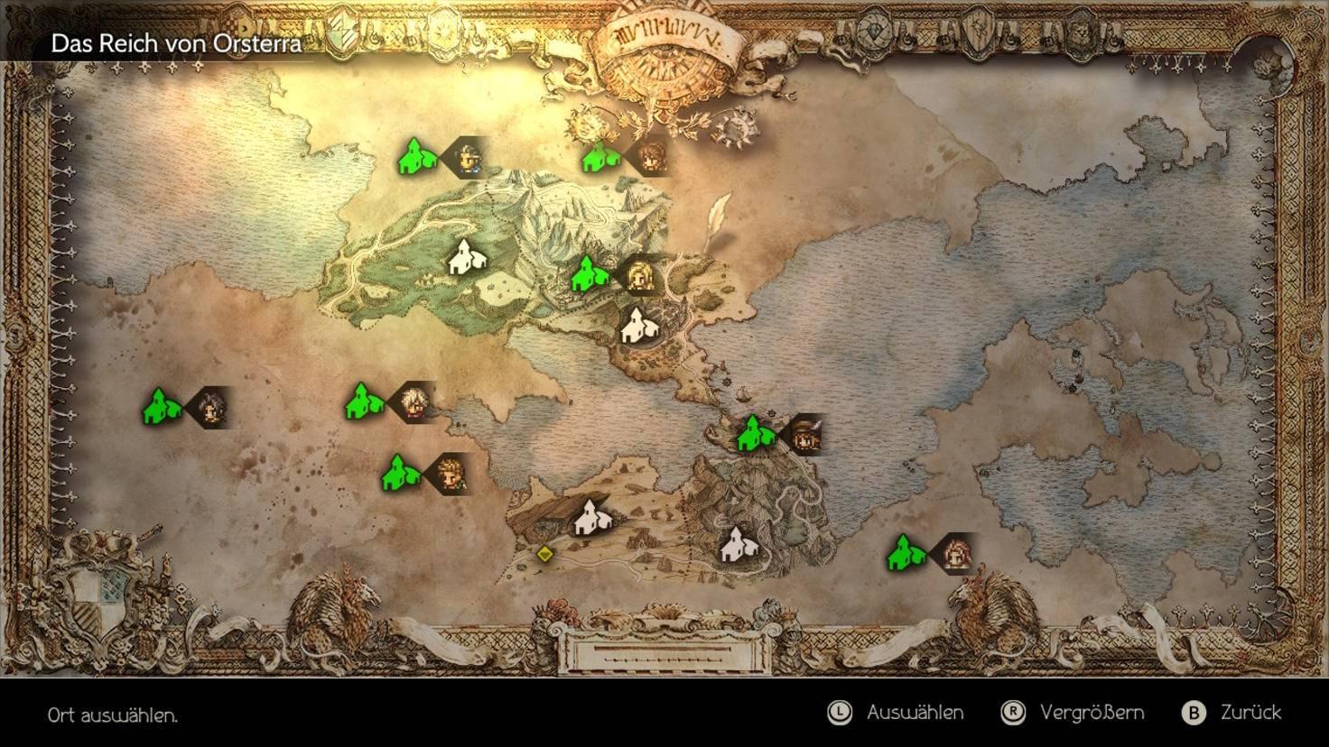 Die Porträts auf der Karte zeigen, wo die Story des jeweiligen Charakters weitergeht. Es gibt also viel zu tun.