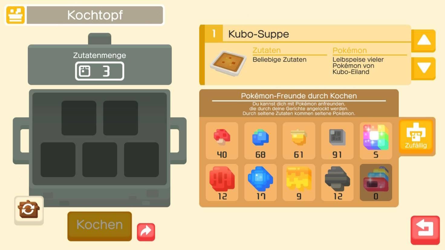 """Wundermuscheln (ganz unten rechts in der Zutatenliste) bekommst Du erst spät in """"Pokémon Quest""""."""
