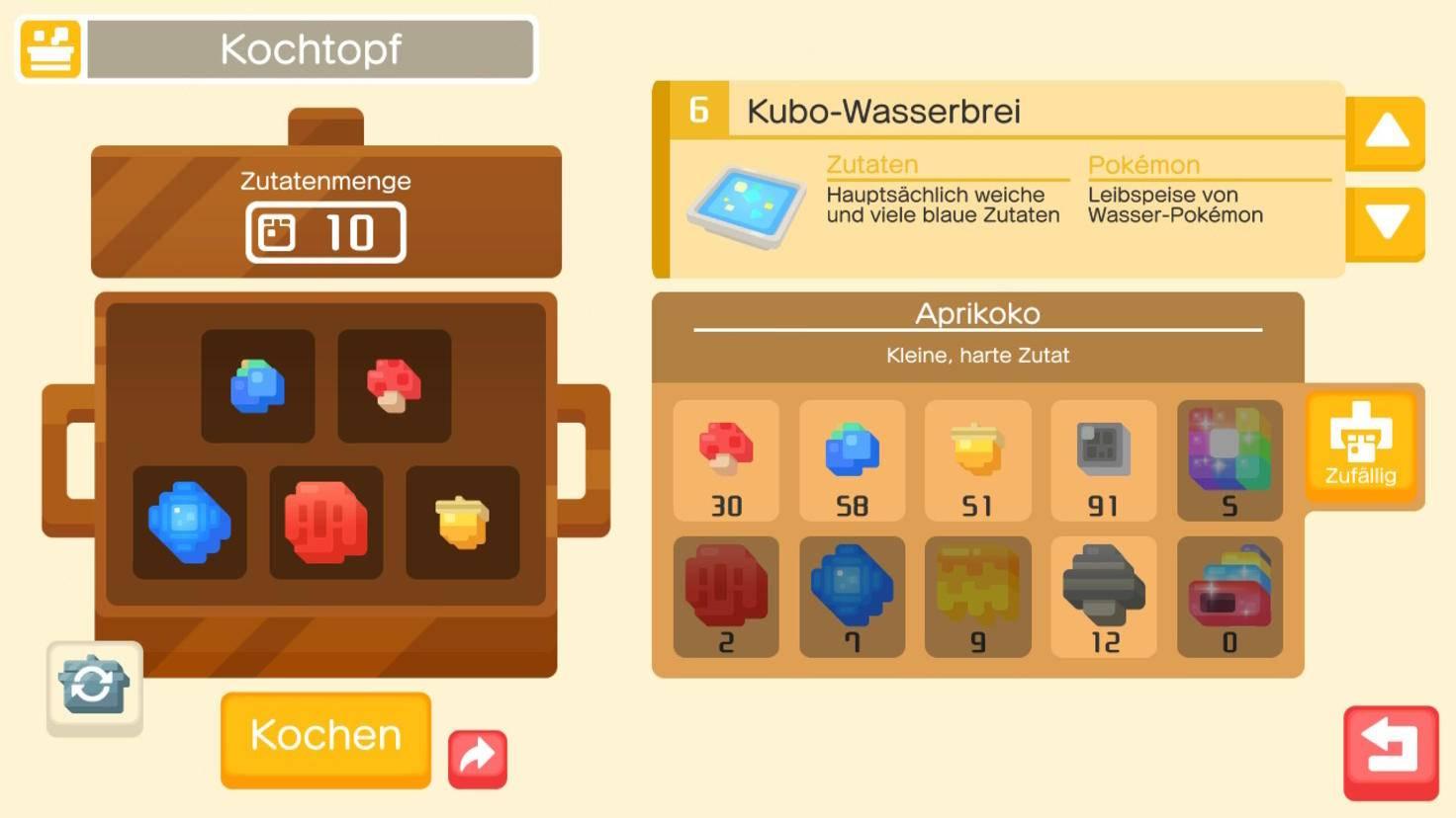 Ein besserer Kochtopf verbraucht mehr Zutaten, lockt aber Pokémon mit höherem Level an.