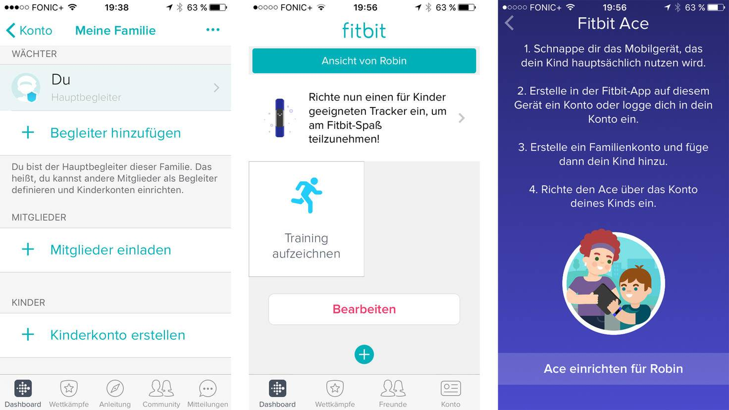 Hast Du Dein eigenes Fitbit-Konto eingerichtet, kannst Du mit dem Familienkonto weitermachen.