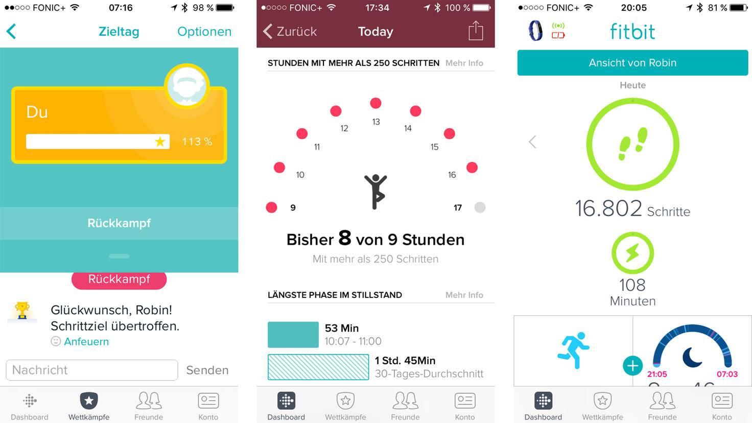 Schritte und Co. kannst Du über die Kinderansicht der Fitbit-App einsehen.