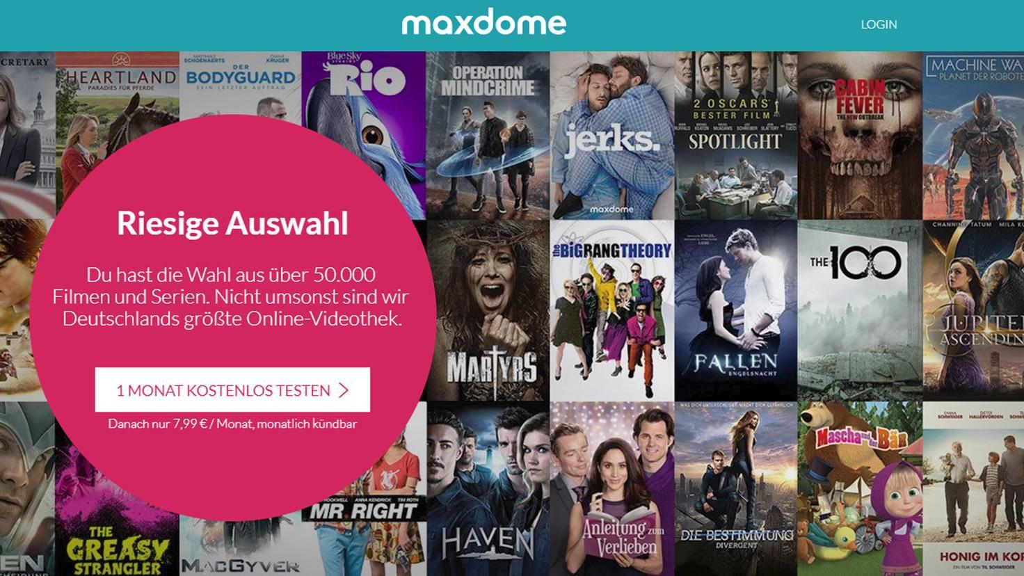 Direkt auf der Maxdome-Website findest Du den Anmeldebereich.