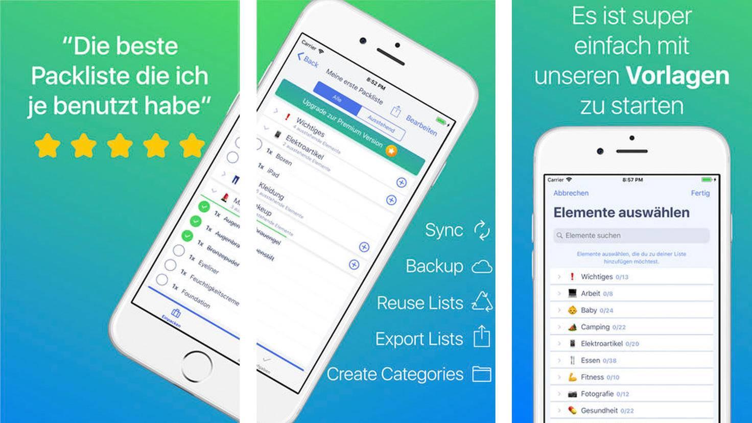 Packliste Checkliste Kofferpacken-App