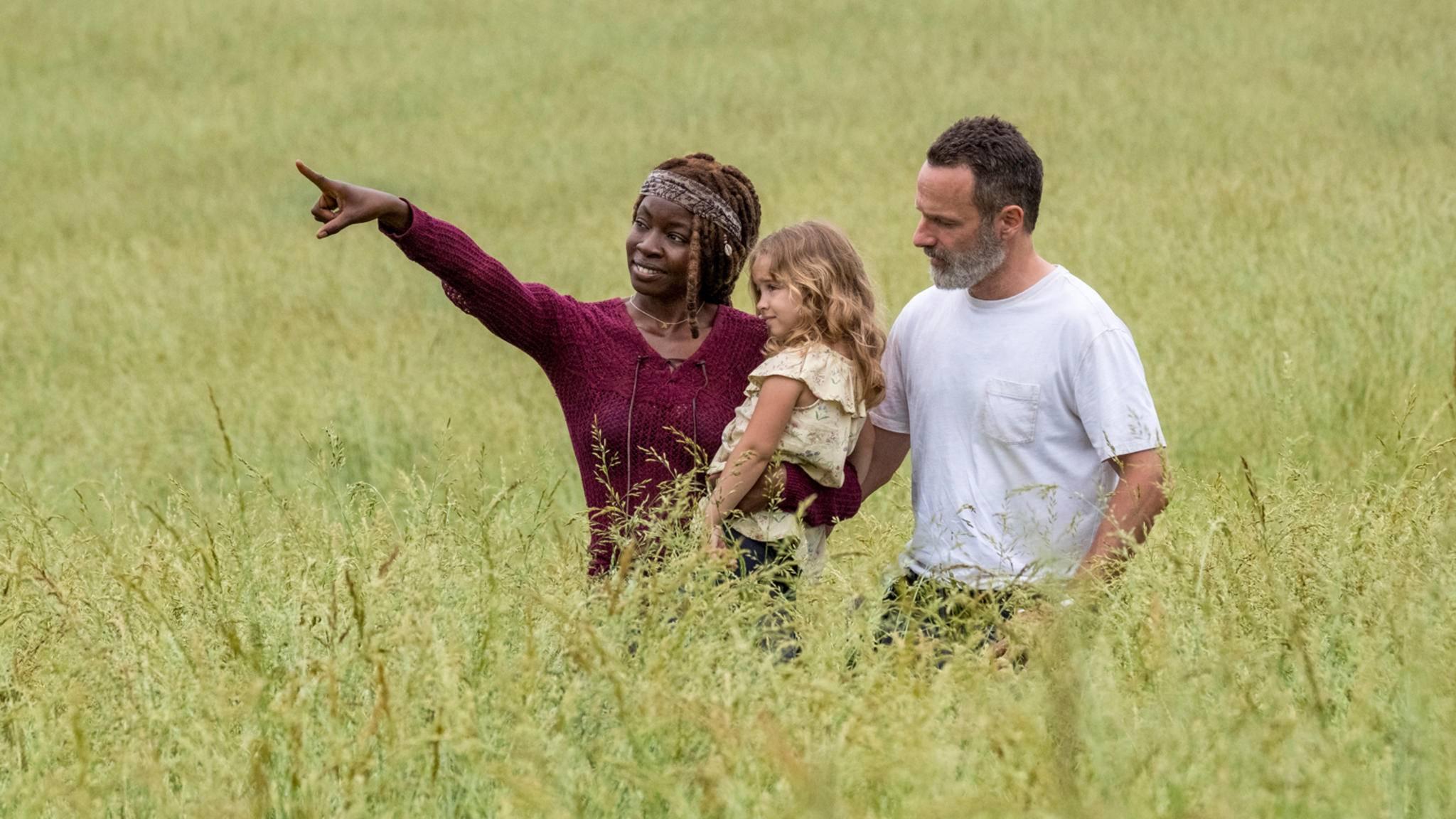 Michonne, Judith und Rick scheinen keine Angst zu haben, im freien Feld ihre Zeit zu verbringen.