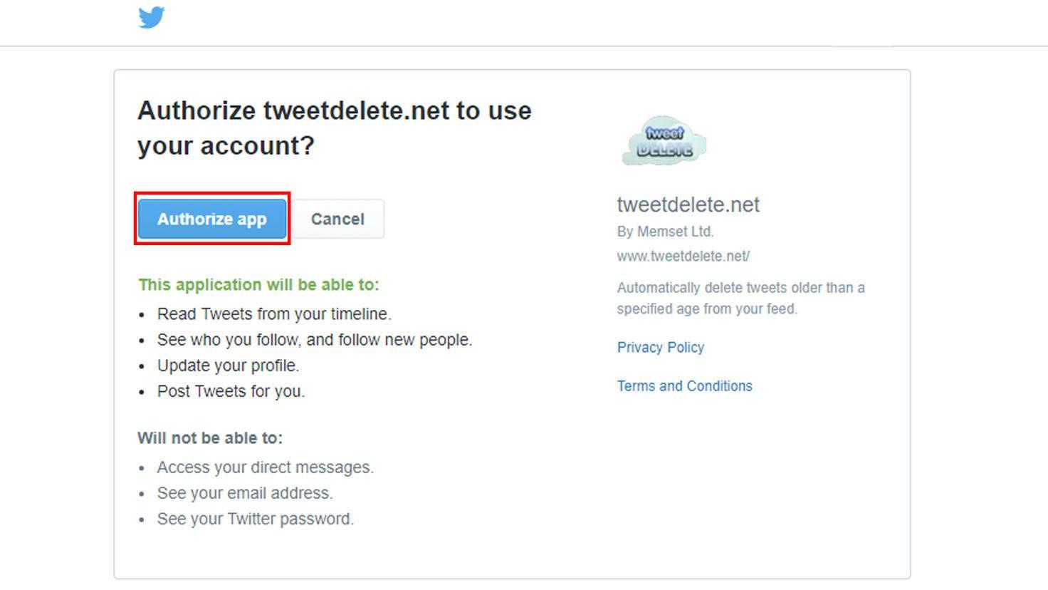 Authorisiere den Dienst auf der Twitter-Seite.