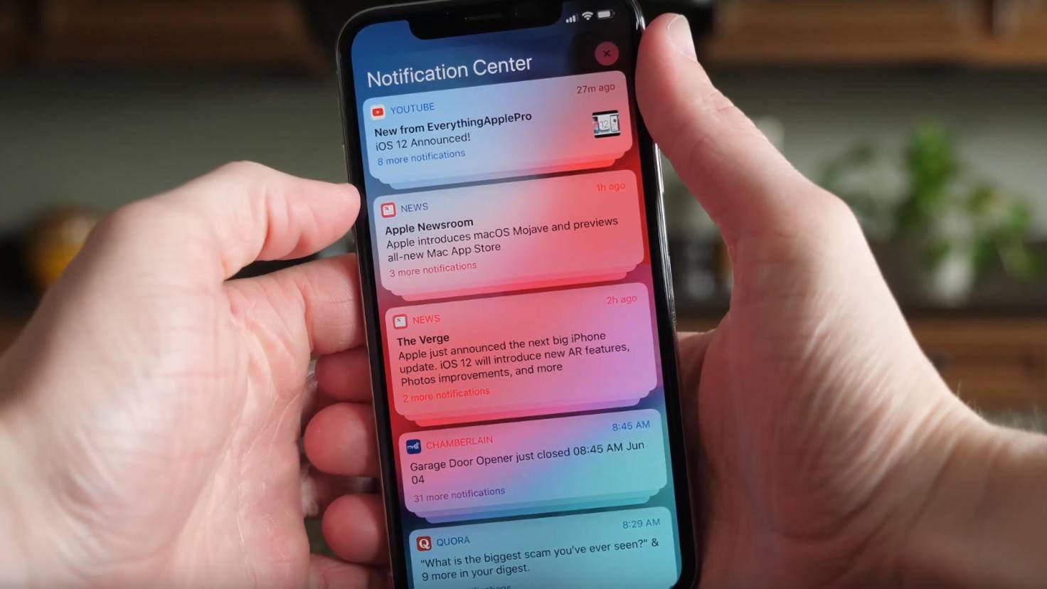iOS 12 gruppierte Benachrichtigungen