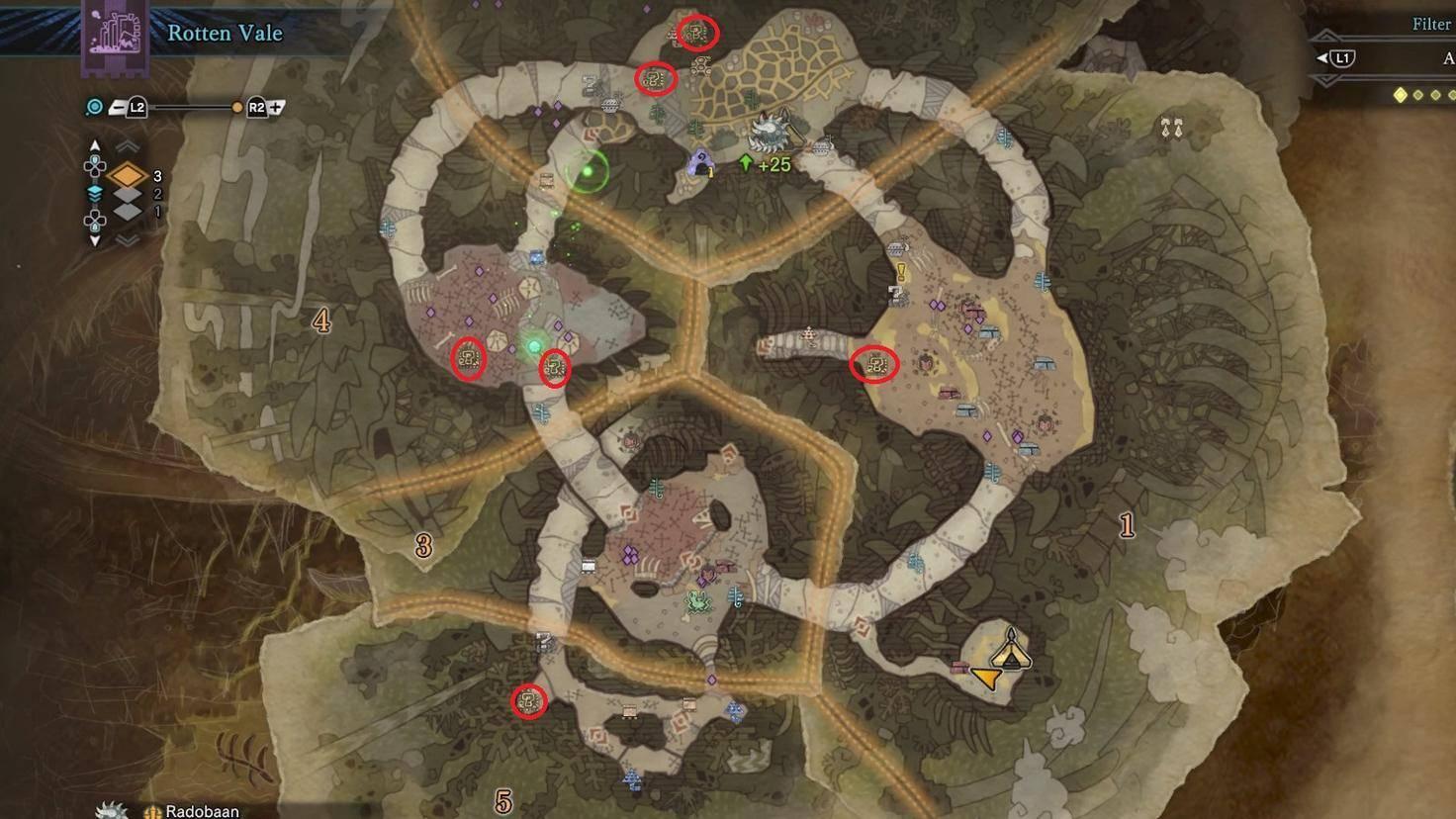 An den markierten Stellen kannst Du Krumme Knochen im Tal der Verwesung finden.