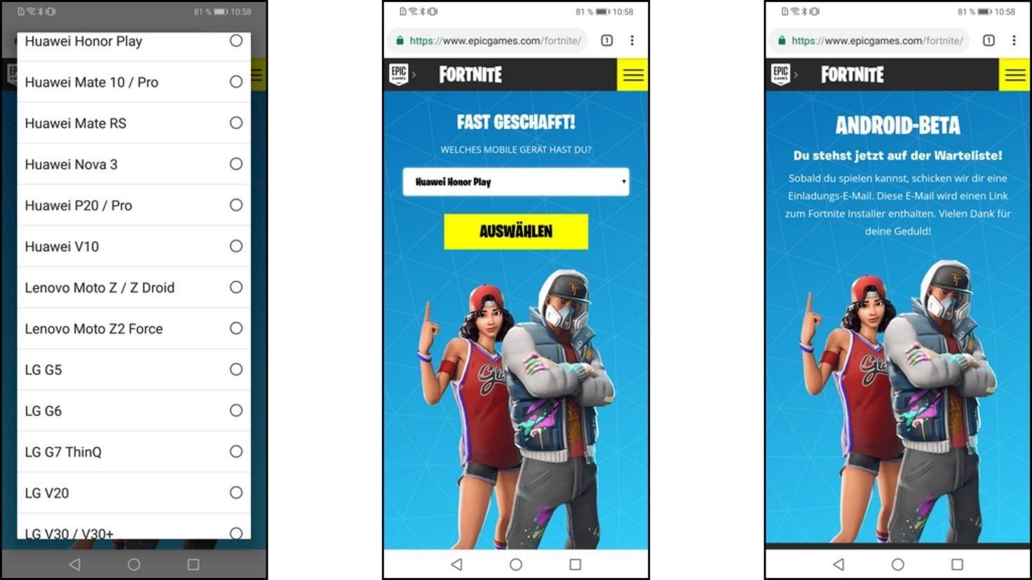 Fortnite-Android-Registrierung