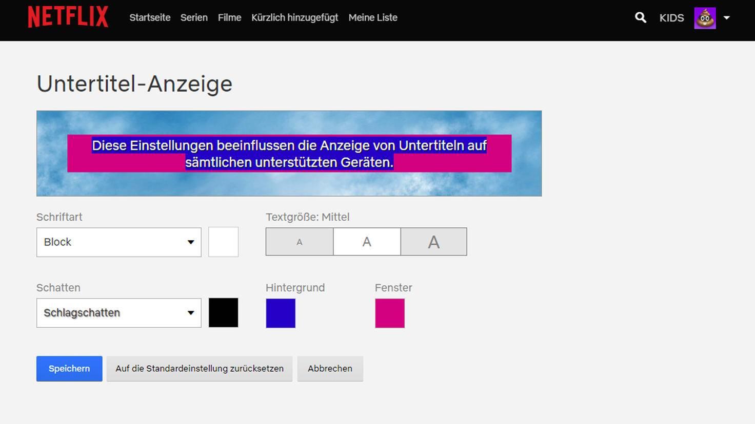 """Unter """"Hintergrund"""" wird nur ganz explizit der Text farblich unterlegt."""