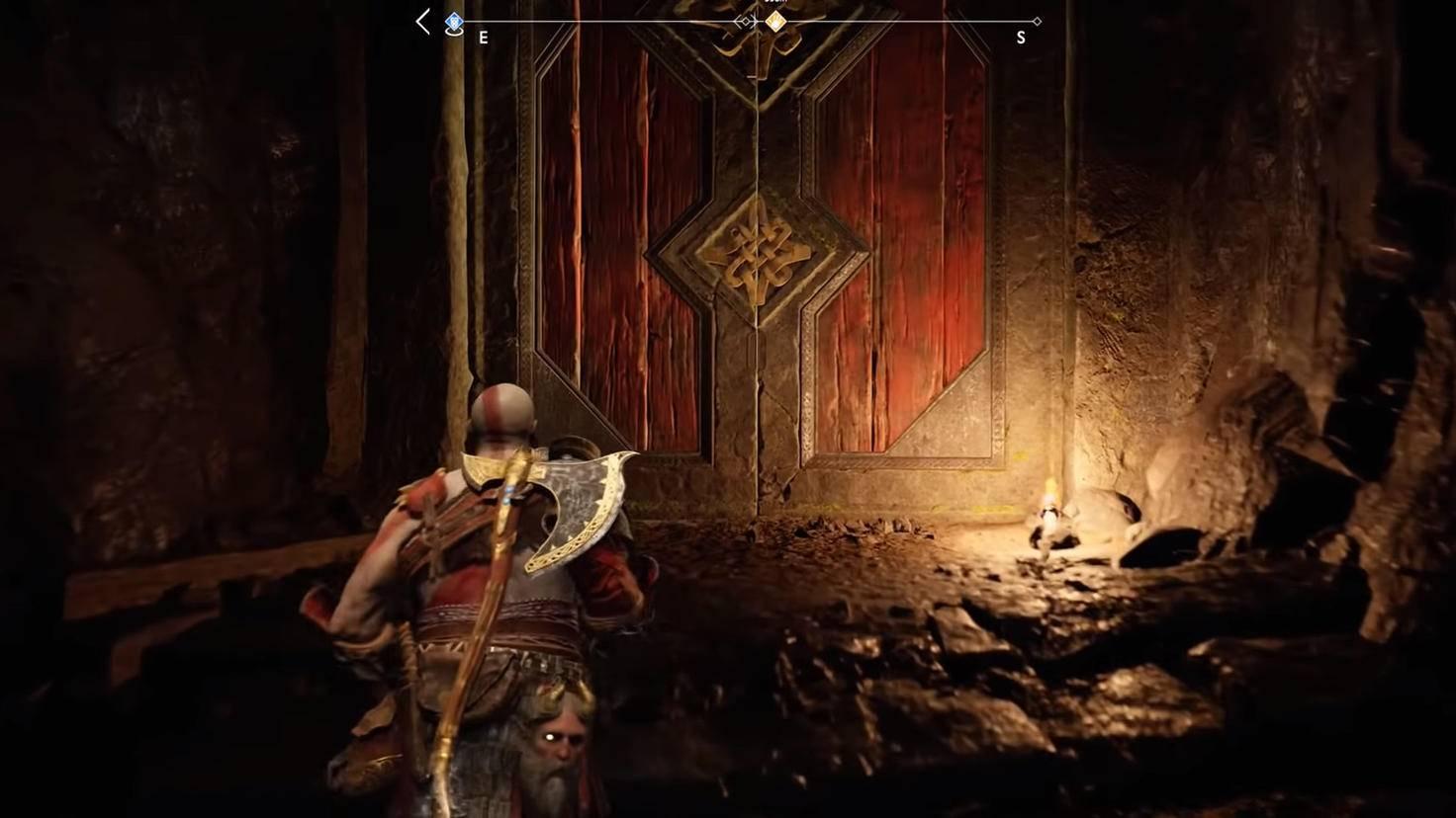 Versteckter Ladebildschirm: Das Öffnen dieser Tür wird Kratos gleich einige Sekunden kosten.