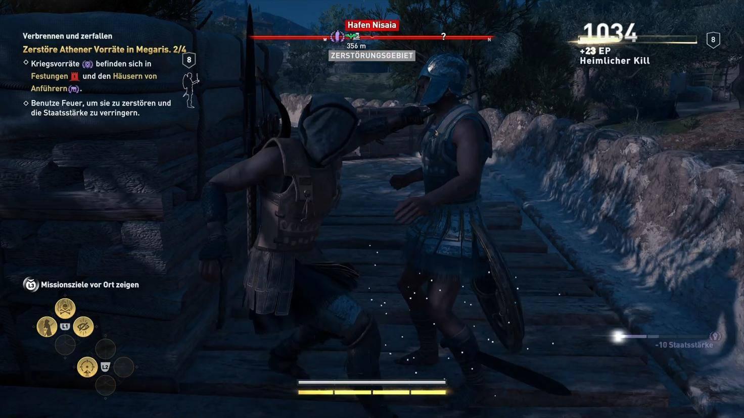 Für Sparta! Um die Athener zu schwächen, infiltriere ich den Hafen von Nisaia