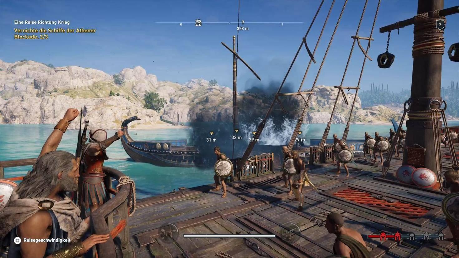Das Schiff der Athener ist kampfunfähig. Bereitmachen zum Entern!