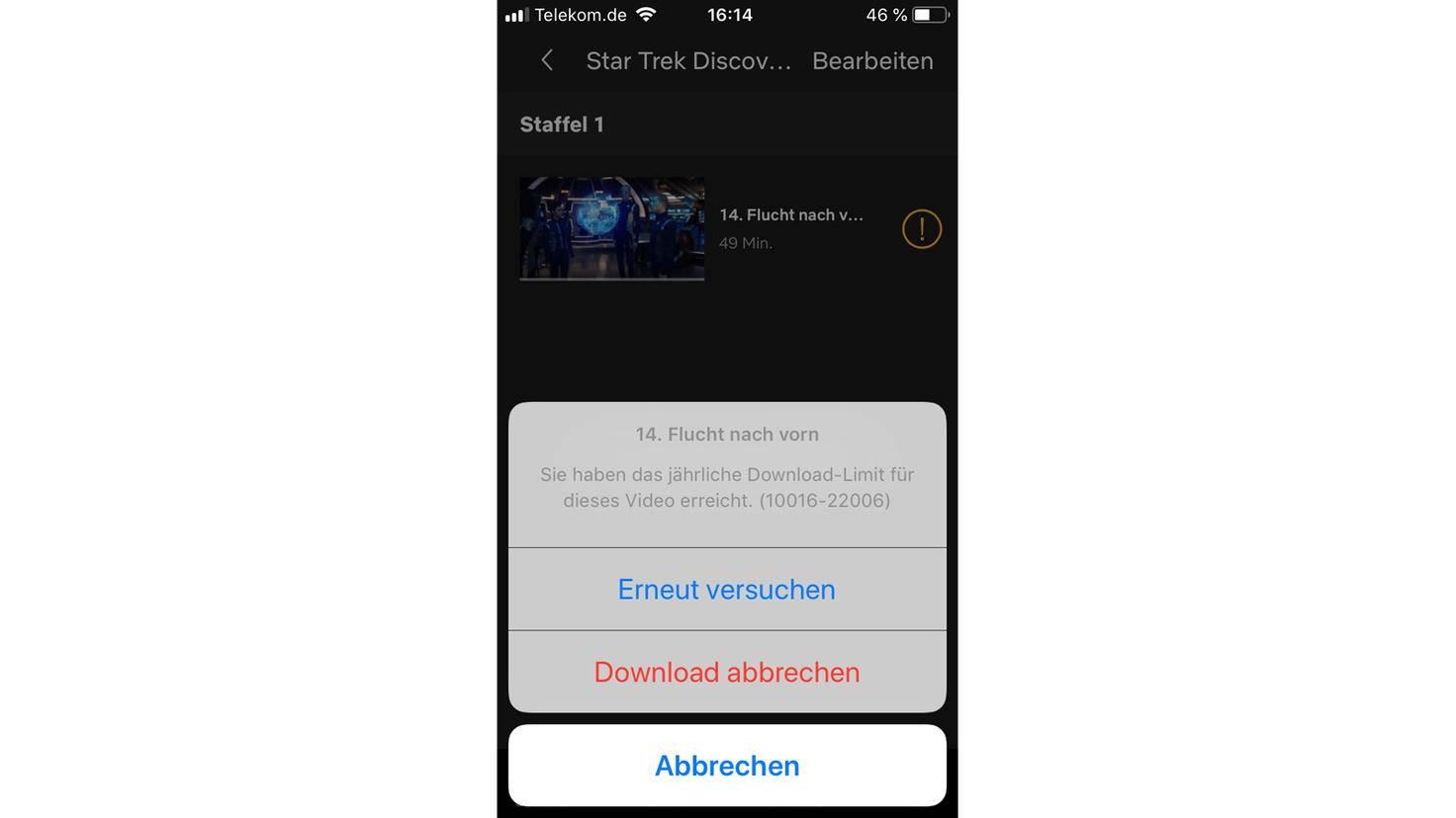 So sieht die Fehlermeldung auf iOS-Geräten aus.