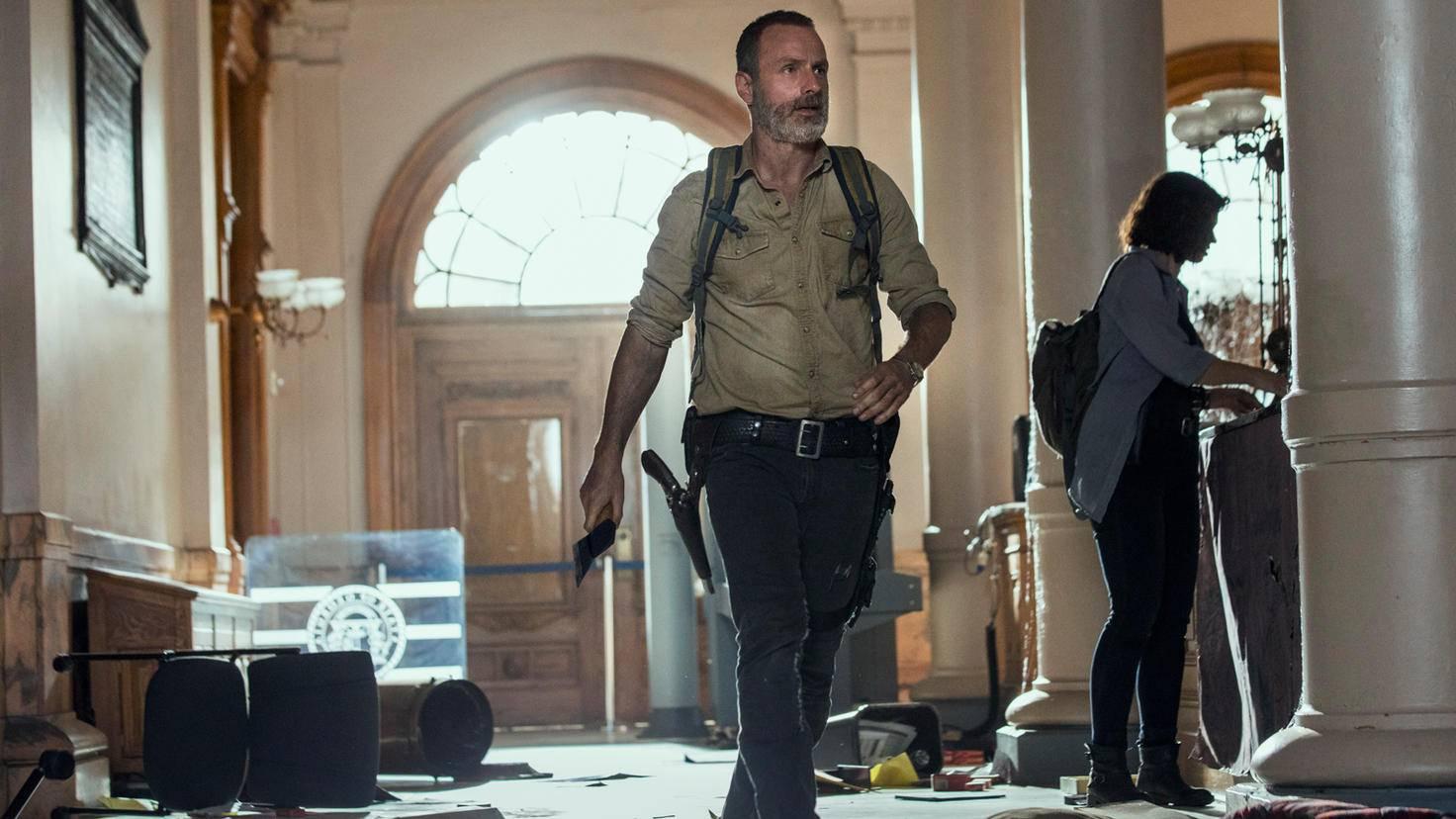 Pollyanna McIntosh as Jadis/Anne, Andrew Lincoln as Rick Grimes- The Walking Dead _ Season 9, Episode 1 - Photo Credit: Jackson Lee Davis/AMC