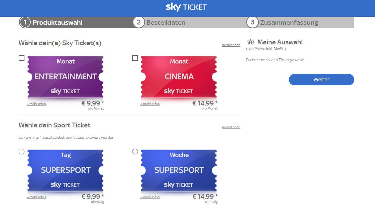 In drei Schritten erstellst Du Dir Deinen Account bei Sky Ticket.