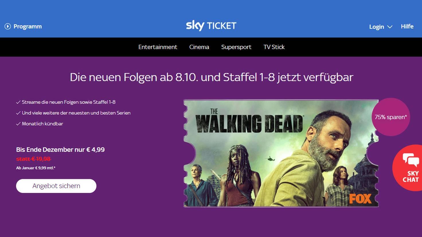 """Passend zum """"The Walking Dead""""-Start von Staffel 9 bietet Sky Ticket ein neues Angebot an."""