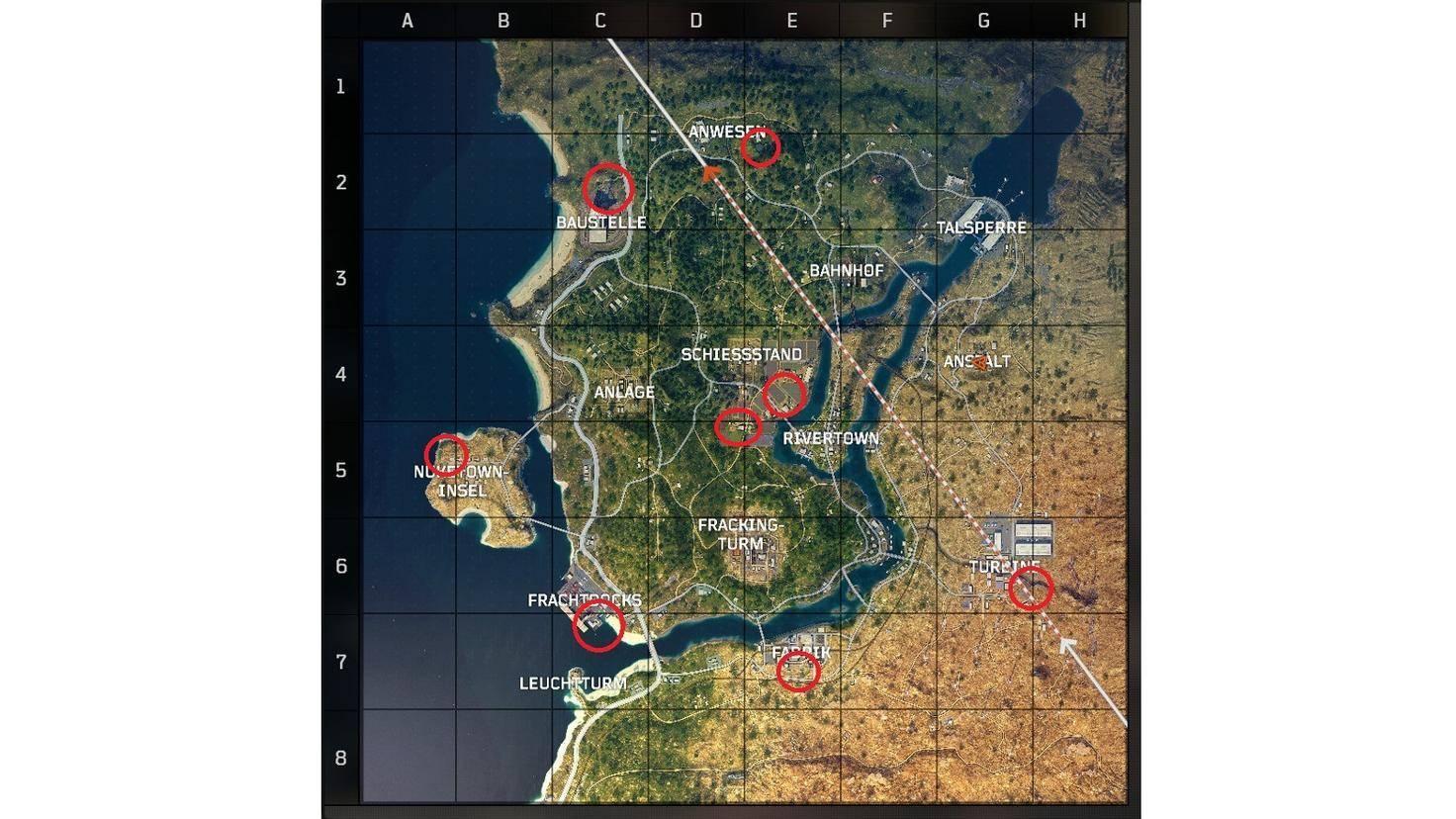 Alle 8 Spawnpunkte für Helikopter im Überblick