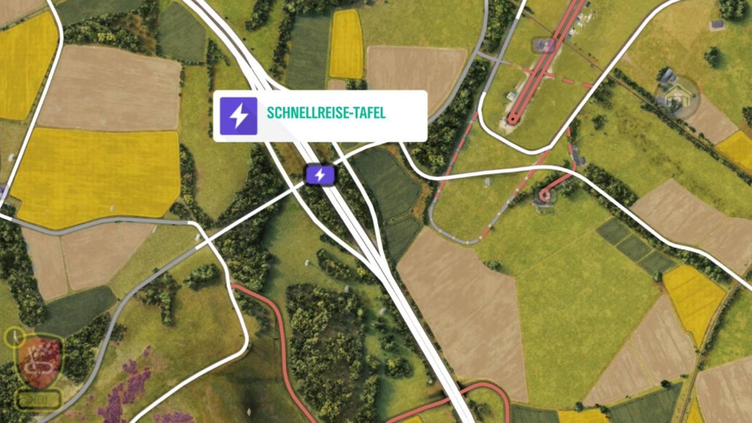 Schnellreise-Tafeln siehst Du auf der Karte.