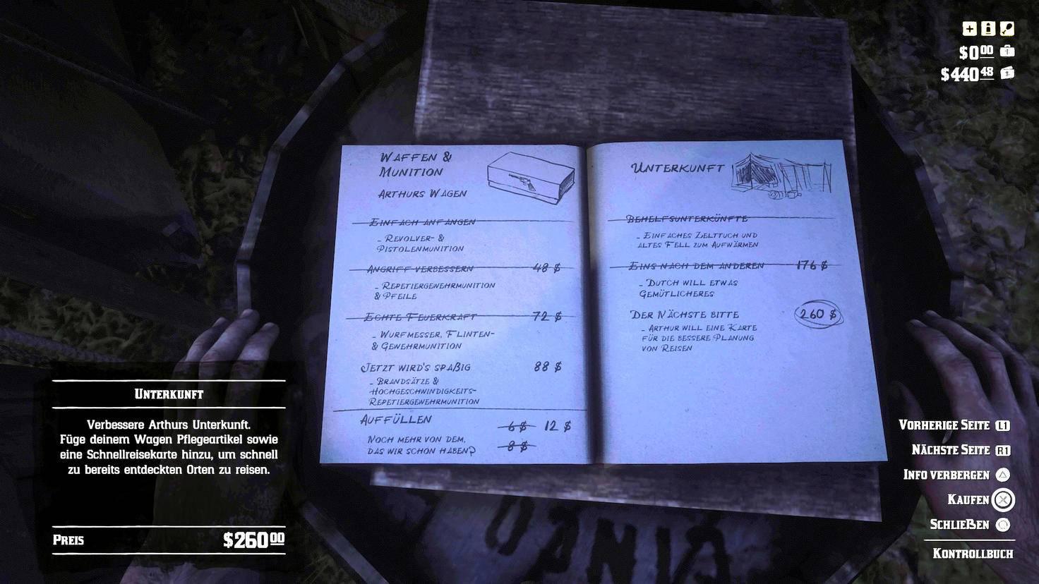Im Kontrollbuch kaufst Du Upgrades für's Camp – darunter auch die Schnellreise-Karte.