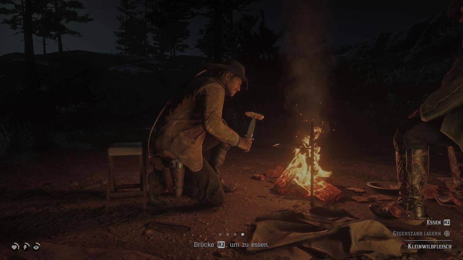 Kochen und Craften am Feuer dauert.