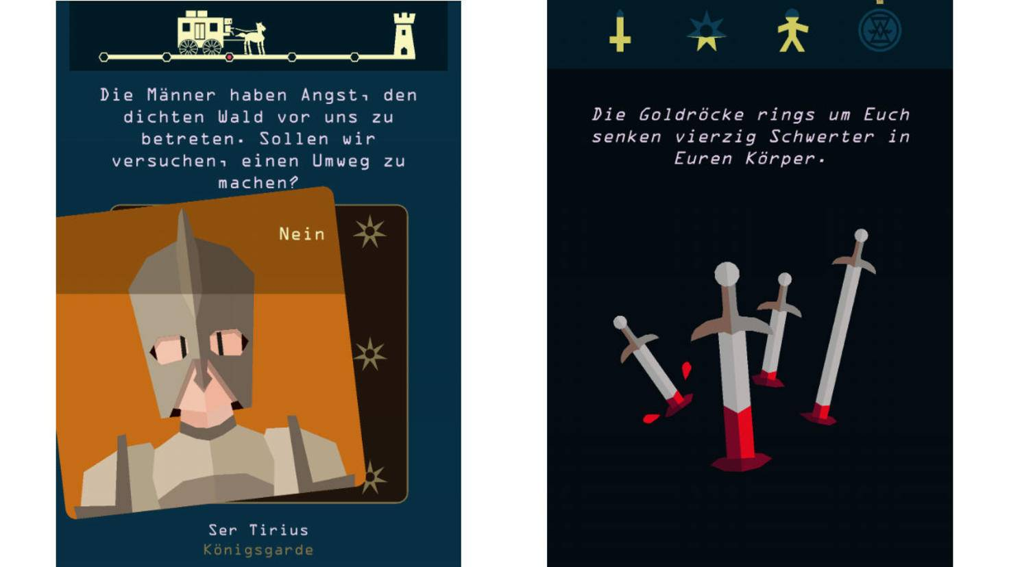 Die Story wird anhand von Spielkarten erzählt, die Du nach Tinder-Art wegwischen musst.