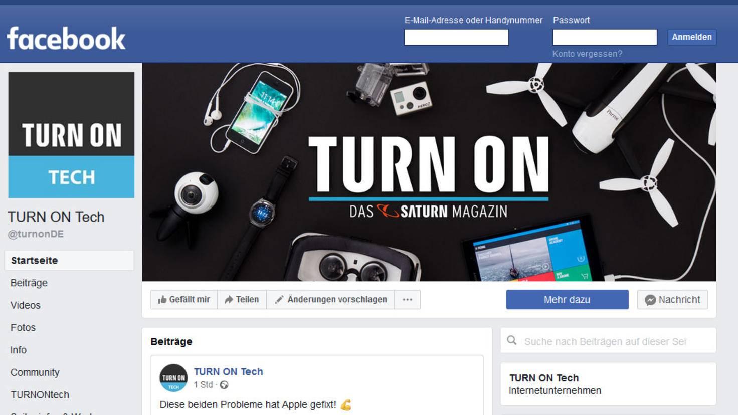 Desktop ansicht facebook